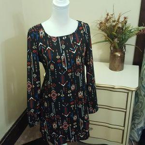 Simple Classic Casual Long Sleeve Aztec Midi Dress